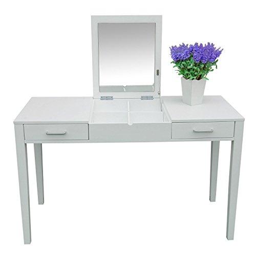 homcom – Specchiera Tavolo per Make-up Specchio Quadrato Moderno Bianco 120 x 50 x 75 cm
