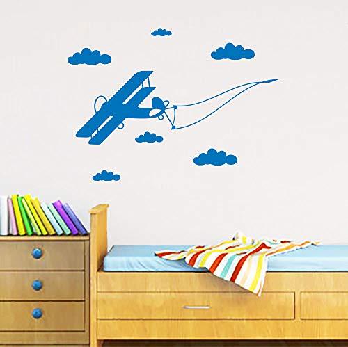 Design Wandaufkleber Flugzeug Flug Wolken Flagge Kinderzimmer Ungiftig PVC Aufkleber kinderzimmer Wandkunst Wandbild 58X42CM