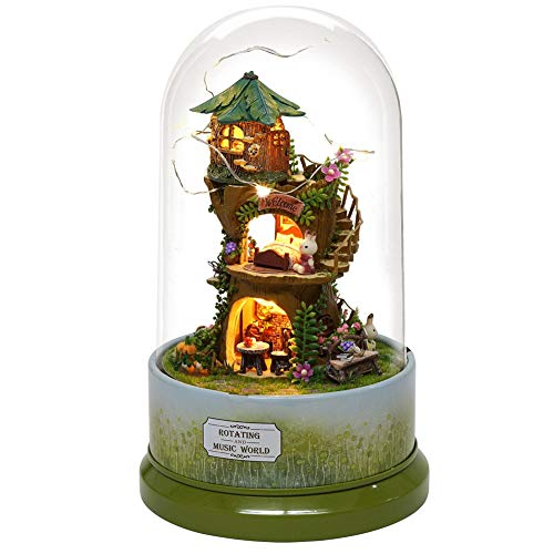 Leuke DIY Bos Poppenhuis Miniatuur met Draaien Muziekdoos Stofkap Led Licht Bureau Decoratief Kids Craft Gift Huishouden