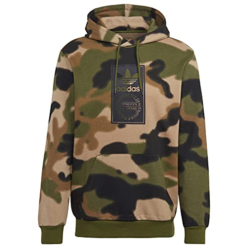adidas Originals,mens,Camo All Over Print Hoodie,Wild Pine/Multicolor/Black,Medium