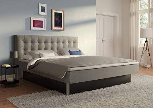 SuMa - Wasserbett 200x220 dual, m. Topper, freistehend m. Sockel schwarz und Kopfteil Nuevo, Farbe lightgrey 200x220 cm