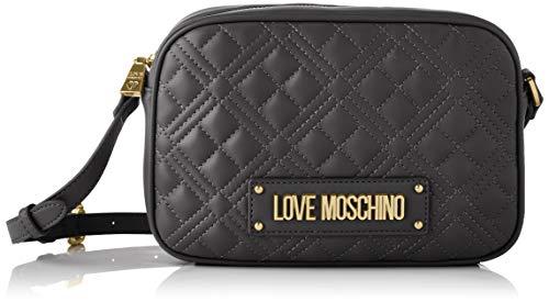 Love Moschino Precollezione ss49, Borsa a Spalla PU da Donna, New Shiny Quilted, Nero, Normal