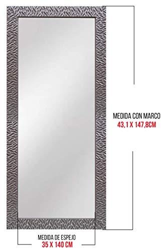 Chely Intermarket, Espejo Cuerpo Entero 35x140cm (Marco Exterior 43,1x147,8cm) (Gris/Raya Plateado) MOD-156 | Forma Rectangular | Decoración de salón, recibidor | Acabado Elegante (156-35x140-6,40)