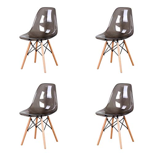 ArtDesign FR Lot de 4 chaises gris transparent