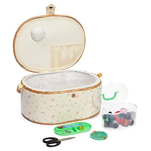 Sewing Basket Organizer with Needles and Kit, Round (13 x 9 x 6 In, 30 Pieces)
