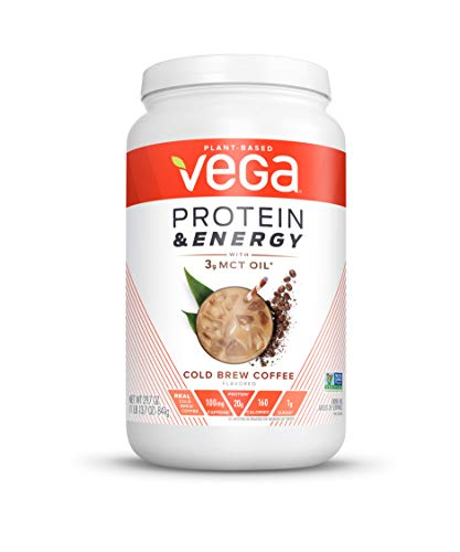 Vega Protein & Energy Cold Brew Coffee (24 servings, 29.7 Ounce (Pack of 1)) - Plant Based Vegan Non Dairy Protein Powder, Gluten Free, Keto, MCT oil, Non GMO