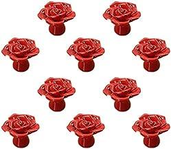 Rose bloem keramische deurklink AOOF dressoir keukenkast lade handvat 10 stuks, wit (rood)