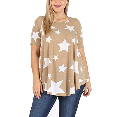 LoveCurvy (XT1010E S) Plus Size Women's Round Neck Short Sleeves Multi Print Flowy Knit Top (1X, Taupe Star(TS))