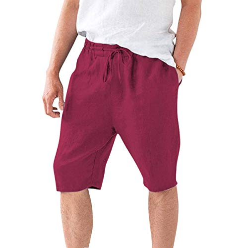 minifaceminigirl Men's Shorts Cotton Linen Casual Elastic Waist Drawstring Summer Solid Color Beach Shorts with Pockets Wine Red