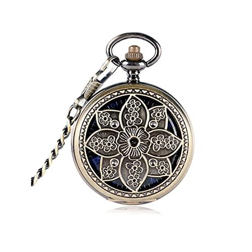 QYYYUNDING Reloj de Bolsillo Lotus Flower Mecánico Hueco Bronce De Copos De Copos Reloj Mujer Reloj DE Las Mujeres DE Momento Contenido Exquisito Pendiente