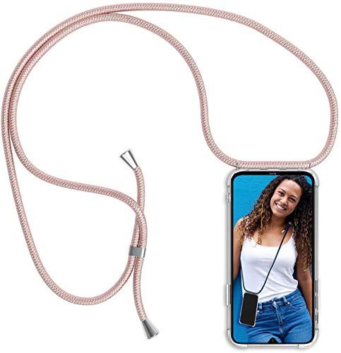 Funda para Xiaomi Redmi Note 8, Transparente Silicona Carcasa con Cuerda para Redmi Note 8, Rosyheart Suave TPU Case con Cuerda para Colgar Ajustable Anti Golpes Protector Case - Oro Rosa