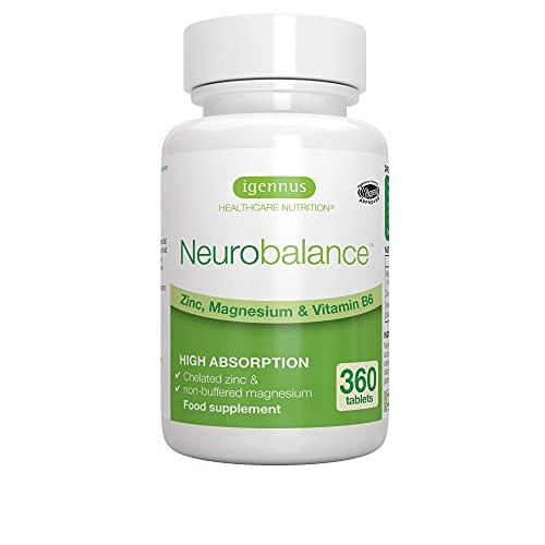 Neurobalance zmb6, picolinato de zinc, citrato de magnesio y vitamina B6, suplemento para adultos y niños, 360 comprimidos
