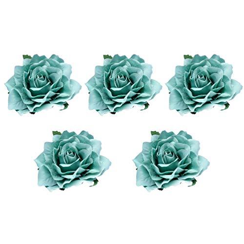 FRCOLOR 5Pcs Fleur Clip pour Les Femmes 10CM Tissu Rose Broche Corsage Fleur Clip pour Le Mariage ( Ciel Bleu )