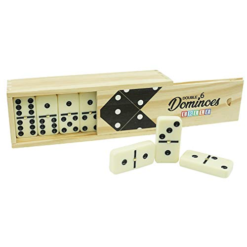 Dominos Set Game Premium Classic 28 Pieces Double Six Domino in Durable Wood Box for Kids Boys Girls Party Favors and Anytime Use Duoble 6 Dominoes Mexican Train/Chicken Foot/juego 24 Players