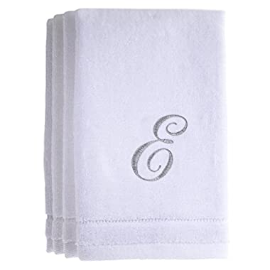 Monogrammed Towels Fingertip, Personalized Gift, 11 x 18 Inches - Set of 4- Silver Embroidered Towel - Extra Absorbent 100% Cotton- Soft Velour Finish - For Bathroom/ Kitchen/ Spa- Initial E (White)