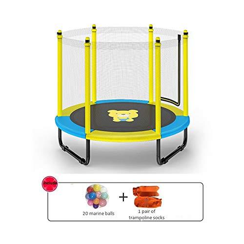 JISHIYU Cama elástica para exteriores con red de seguridad de 150 cm, para niños y adultos, carga máxima de 500 kg, para interiores/exteriores, amarillo y azul