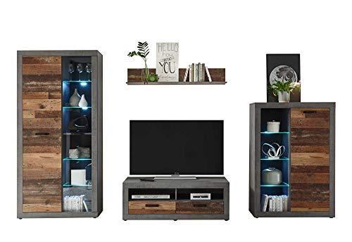 lifestyle4living 4-TLG. Anbauwand mit Front in Old Wood Nachbildung und Korpus in Betonoxid Dekor inkl. LED-Beleuchtung | Stilvolle Wohnwand für EIN modernes Zuhause!