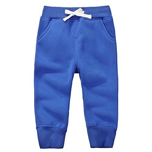 CuteOn Unisexe Enfants Élastique Taille Coton Chaud Pantalon bébé Trousers Bottoms Bleu 4Années