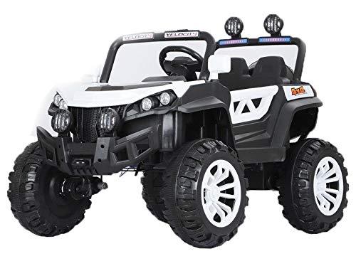 Indalchess Buggy Rodeo 12v 4x4 Motores, Coche eléctrico para niños, Blanco, Mando RC y App móvil - AT-Rodeo