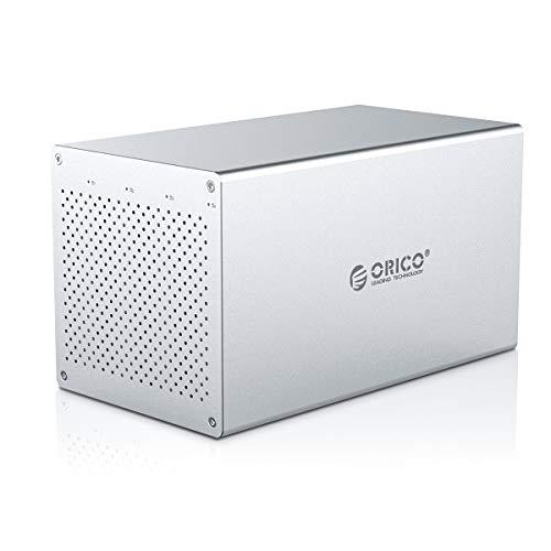 ORICO Bay Hard Drive Enclosure 3.5inch Raid USB to SATA Aluminum Alloy External HDD/SSD Storage Drive Enclosure Screw Installtion Data Safe Protection for Enterprise Backup