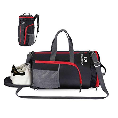 32L Bolsas de Deporte con Compartimento de Zapatos,Bolsas de Gimnasia Impermeable,Bolso de Viaje Fin de Semana,Travel Duffle Bag para Hombre/Mujer,Bolso Bandolera para Natación/Surf/Viajar (Negro)