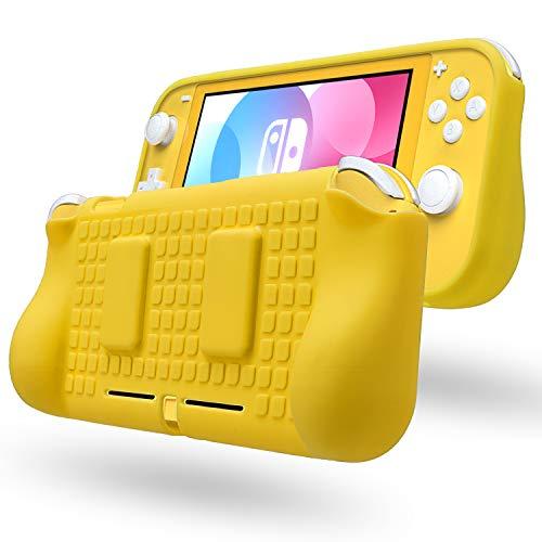 Protetor de TPU para Nintendo Switch Lite com 2 compartimentos para cartão de jogo, Amarelo