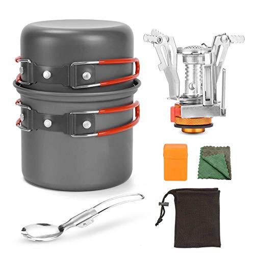 WSCQ Kit de Utensilios Cocina Camping con Mini Estufa, Cooker Pan Set para 1 a 2 Personas Juego de cazuelas de Camping para Acampada Excursión Escalada Senderismo,Naranja