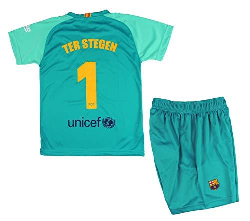 T-Shirt und Hose Set torwarttrikots von FC. Barcelona 2018-2019 - Offizielle Replik Lizenziert - Rücker 1 TER STEGEN - Kinder Größe 8 Jahre