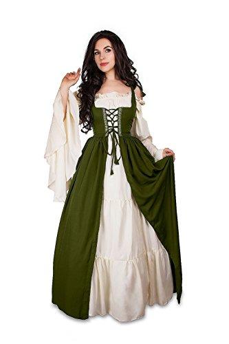Mythic Renaissance Medieval Irish Costume Over Dress & Cream Chemise Set (S/M, Olive)