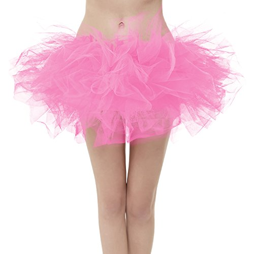 GirstunmBrand Damen 50er Mini Tüll Tutu Puffy Ballett Bubble Rock Rosa-Standard Size