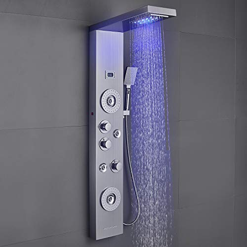 ROVOGO Shower Panel with LED Rainfall Waterfall Showerhead, 4 Mist Jets, 2 Body Sprays, Handheld and Waterfall Tub Spout, Shower Tower System with Temperature Display, Stainless Steel Brushed