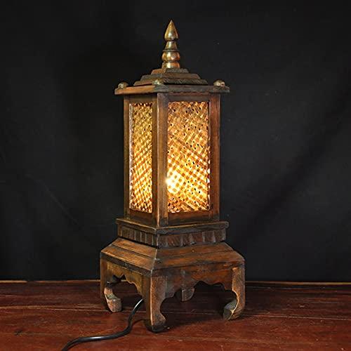 JSJJATQ Lámpara de Mesa Lámpara de Mesa de bambú de Madera Maciza tailandesa iluminación Creativa Retro Simple lámpara de Mesa de Madera lámpara de Noche Minimalism