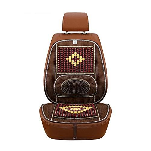 PengSF PSF stoelhoezen voor auto Summer Cool houten kralen Monoblockung ademend Cool Pad voor Auto Forniture (beige) Kleur koffie