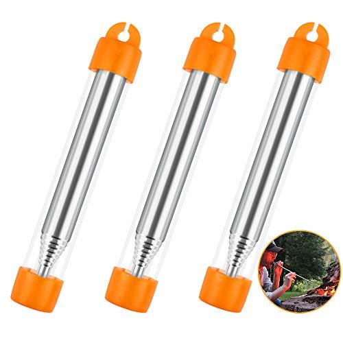 Aipaide Edelstahl Blasrohr Feuer Werkzeuge 3 Stück Teleskop Schlag Feuerrohr Feuerblasrohr für Outdoor Camping Wandern Grill Überleben im Freien Werkzeuge