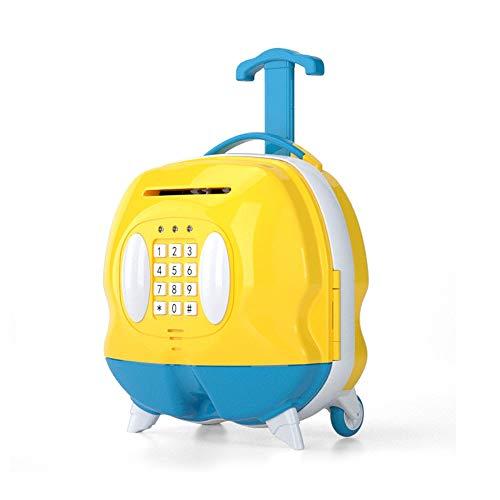 ZAKRLYB Hucha para niños Protección Ambiental Simulación de plástico Maleta pequeña Maleta Rollo de inducción Money Protección de contraseña Roller de Goma Música Luz portátil Telescópico (Amarillo)
