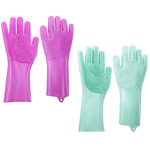 umorismo 2 Paar Silikon Spülhandschuhe mit Noppen, Gummi Reinigungshandschuhe mit 1 Silikon Schwamm, Silikon Geschirrhandschuhe für Küche,Auto waschen,Pet