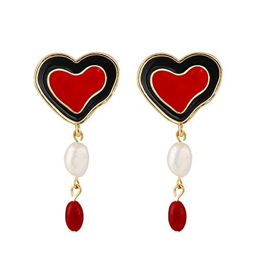 Pendientes Para Mujer - Pendientes Colgantes Largos De Corazón Rojo Esmaltado, Pendientes De Amor De Perlas De Agua Dulce, Regalos Para Novia, Encanto, Moda, Pendientes Colgantes, Joyería Para Muj