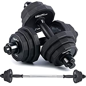 wolfyok 44Lbs/66Lbs Dumbbells Set, Adjustable Weights Solid Steel Dumbbells Pair for Adults Home Fitness Equipment Gym Workout Strength Training with Connecting Rod Used as Barbell