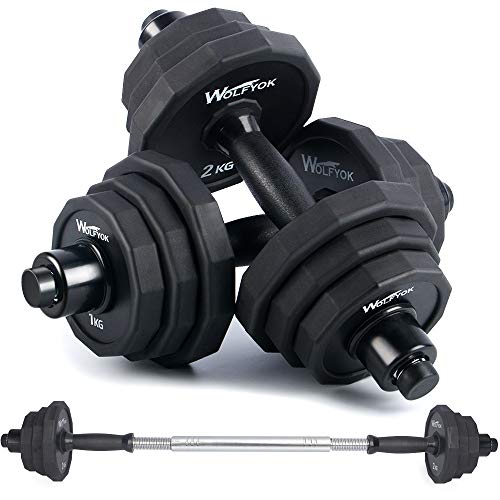 wolfyok 44Lbs Dumbbells Set, Adjustable Weights Solid Steel Dumbbells Pair for Adults Home Fitness Equipment Gym Workout Strength Training with Connecting Rod Used as Barbell