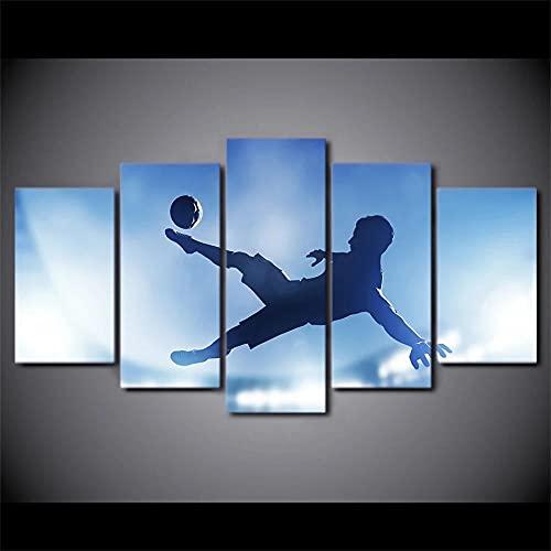 Cuadro En Lienzo Imagen Impresión Pintura Decoración Imagen de Deportes de fútbol Cuadro Moderno En Lienzo 5 Piezas XXL 150X80 Cm Enmarcado Murales Pared Hogar Decor