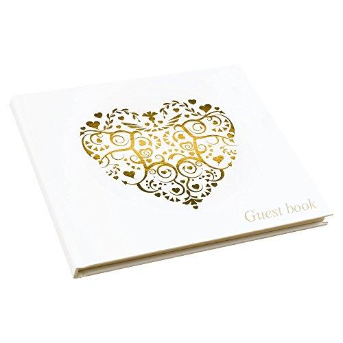 Neviti Libro de firmas para Invitados, Gama Vintage Romance, de Papel, Color Dorado, 22x19,5x1,5cm