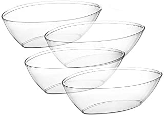 [4 Pack] Embellish Oval 64 Ounce Disposable Reusable Crystal Clear Hard Plastic Serving Size Bowls, Great For Salad, Snack, Chips, Candies, Side Dish, Use At Wedding, Event, Party, Or At Home