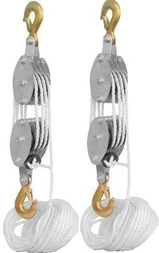 (KS) 2 PACK - 4000LB 2 Ton 65 Feet of 3/8' - Poly Rope Hoist Pulley Block And Tackle Rope - 7:1 Lifting power