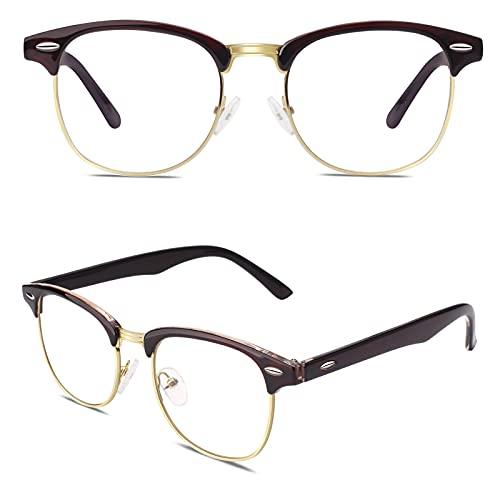 CGID 50er Jahre Retro Nerd Brille Halbrahmen Hornbrille Stil Rockabilly Streberbrille,Braun