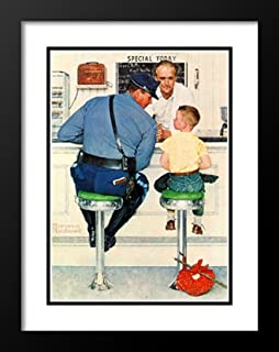 The Runaway 25x29 Framed and Double Matted Art Print by Norman Rockwell