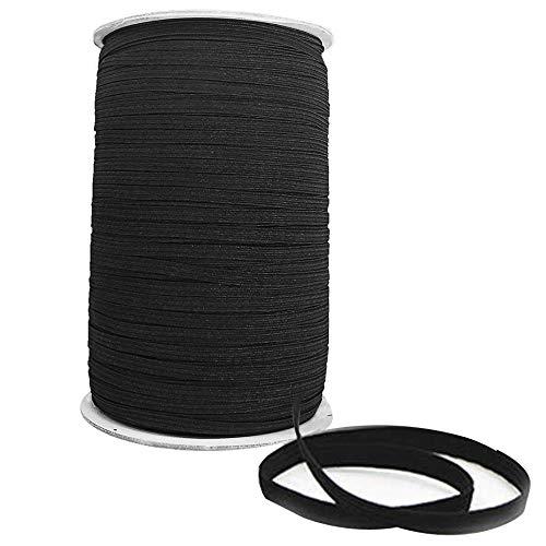 Trimming Shop 5mm Breed Zwart Elastisch Lint voor Naaien en Ambachten - Spool van Elastische Platte Band voor Kleding - Stretchy Koord voor Rokken en Broeken Taillebanden