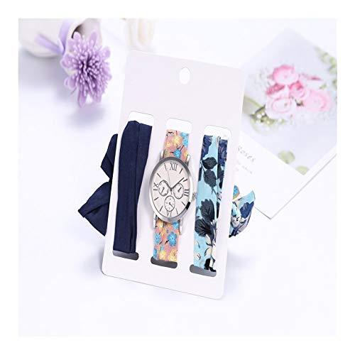 Tongjunmaoyi 3 unids Lady Vestido de Vacaciones algodón Cinta de Seda Rosa Oro Reloj Reloj Reloj Relojes de muñequeras Conjuntos para Mujeres Reloj de Cuarzo (Color : 4)