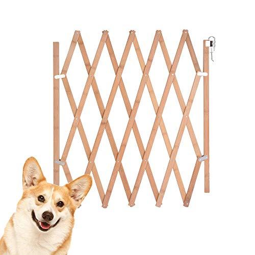 URIJK Haustier Hund Türschutzgitter Holz Aufziehbar Faltbar Barrieren Hundeabsperrgitter Hundeabsperrung Treppenschutzgitter Türgitter Schutzgitter