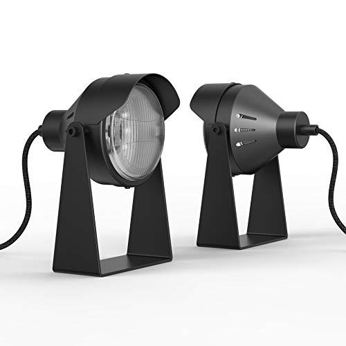 """Fisura Lámpara de Escritorio Foco LED """"Romi"""", De Pie, De Mesa. 20x15 cm, Bombilla GU10 Incluida. Diseño moderno, Base y Cuerpo de Metal. Cubriente de Vidrio. Cable 1,8 m. Color Negro"""