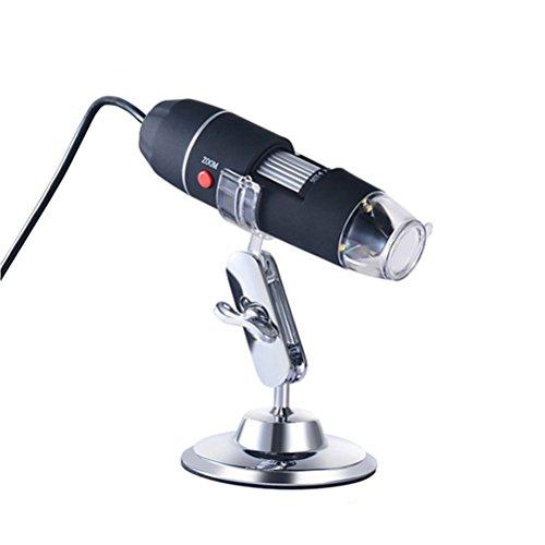 ukcoco Caricabatterie USB microscopio digitale 40X-1000X Microscopio Elettronico con 8LED luce argento supporto per personal communication